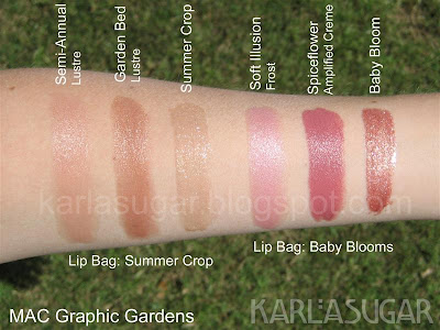 MAC, lip bag, swatches, Graphic Garden, Summer Crop, Baby Blooms, Semi Annual, Garden Bed, Soft Illusion, Spiceflower, Baby Bloom