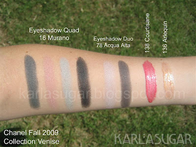 Chanel, fall, 2009, Collection Venise, Collection Venice, Murano, eyeshadow quad, swatches, acqua, alta, acqua-alta, arlequin, courtisane, glossimer, lipgloss