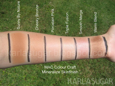 MAC, Colour Craft, Color Craft, Mineralize, Skinfinish, swatches, Sunny By Nature, Cheeky Bronze, Porcelain Pink, Triple Fusion, Smooth Merge, Warm Blend