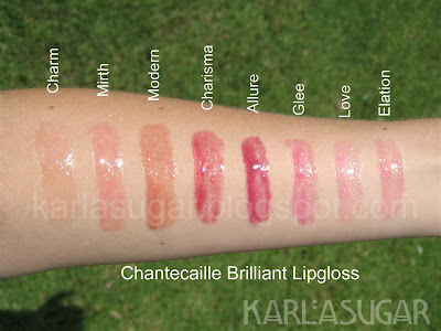 Chantecaille, lipgloss, Brilliant, gloss, swatches, Charm, Mirth, Modern, Charisma, Allure, Glee, Love, Elation