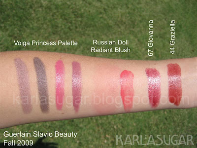 Guerlain, fall, 2009, slavic beauty, volga princess, russian doll, russian beauty, giovanna, graziella, rouge G, Rouge G de Guerlain, swatches