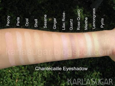 Chantecaille, eyeshadow, swatches, Peony, Perle, Opal, Shell, Sesame, Ginger, Lilac Rose, Quartz, Rose Quartz, Menthe, Lemongrass, Pyrite