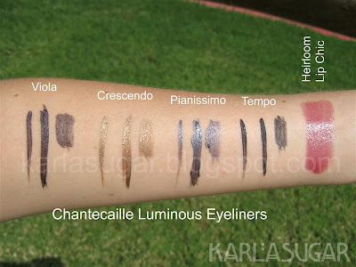 Chantecaille, Luminous Eye Liner, Luminous Eyeliner, swatches, Viola, Crescendo, Pianissimo, Tempo, Heirloom, Lip Chic