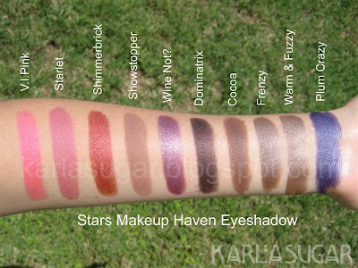 Stars Makeup Haven, SMH, eyeshadow, swatches, VIPink, V.I.Pink, Starlet, Shimmerbrick, Showstopper, Wine Not, Wine Not?, Dominatrix, Cocoa, Frenzy, Warm & Fuzzy, Warm and Fuzzy, Plum Crazy