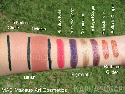 MAC, Makeup Art Cosmetics, pigment, glitter, glitter reflects, swatches, Cocomotion, Heritage Rouge, Brash and Bold, Brash & Bold, Push the Edge, Fuchsia, Fuschia, Gold, Reflects Rust, Reflects Copper
