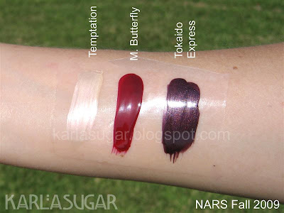 NARS, fall, swatches, nail polish, M. Butterfly, Temptation, Tokaido Express