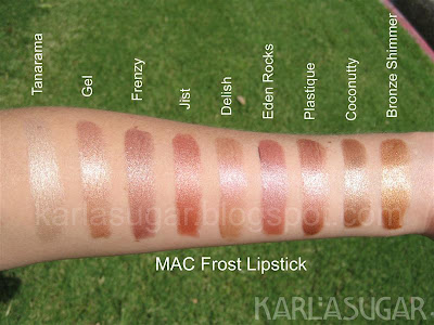 MAC, Frost, lipstick, swatches, Tanarama, Gel, Frenzy, Jist, Delish, Eden Rocks, Plastique, Coconutty, Bronze Shimmer