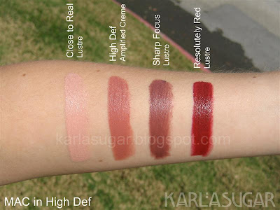 MAC, High Def, lipstick, swatches, Close to Real, High Def, Sharp Focus, Resolutely Red