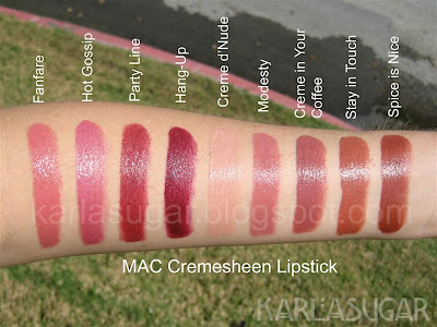 MAC, Cremesheen, lipstick, swatches, Fanfare, Hot Gossip, Pary Line, Hang-Up, Creme d'Nude, Modesty, Creme in Your Coffee, Stay in Touch, Spice is Nice