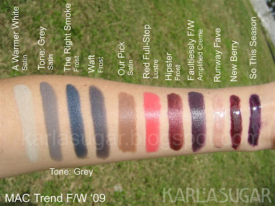 MAC, Trend F/W, Tone: Grey, A Warmer White, Waft, The Right Smoke, Faultlessly F/W, Hipster, Red Full-Stop, Our Pick, Runway Fave, New Berry, So This Season
