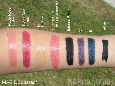 MAC, DSquared, DSquared2, Nude Rose, Blood Red, Dim, Lip Erase, Fuchsia Fix, Greasepaint Stick, Intense Black, V, B, Feline, Kohl Power, Power Kohl, swatches