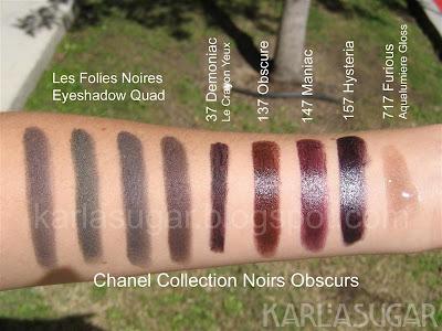 Chanel, Noirs Obscurs, swatches, Quatuor Boutons de Chanel, Les Folies Noires, Demoniac, Obscure, Maniac, Hysteria, Furious