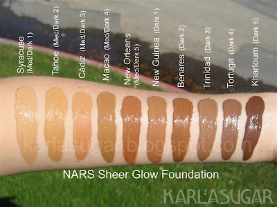 NARS, Immaculate Complexion, Sheer Glow, Sheer Matte, foundation, swatches, Syracuse, Tahoe, Cadiz, Macao, New Orleans, New Guinea, Benares, Trinidad, Tortuga, Khartoum