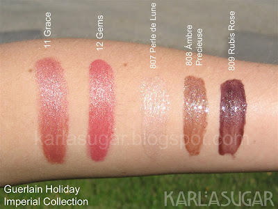 Guerlain, holiday, 2009, Imperial Collection, swatches, Rouge G, Grace, Gems, Kiss Kiss gloss, Perle de Lune, Ambre Precieuse, Rubis Rose