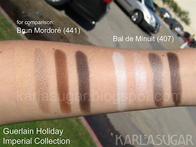 Guerlain, holiday, 2009, Imperial Collection, swatches, Bal de Minuit, Brun Mordore