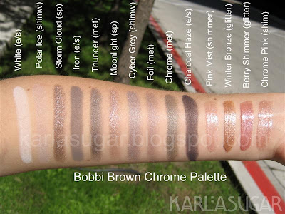 Bobbi Brown, Chrome palette, White, Polar Ice, Storm Cloud, Iron, Thunder, Moonlight, Cyber Grey, Foil, Chrome, Charcoal Haze, Pink Mist, Winter Bronze, Berry Shimmer, Chrome Pink, swatches