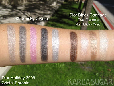Dior, holiday, 2009, Cristal Boreale, Smoky Crystal, quint, swatches, eyeshadow quad, Cannage