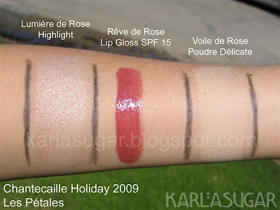 Chantecaille, holiday, 2009, Les Petales, Reve de Rose, Voile de Rose, Lumiere de Rose, swatches