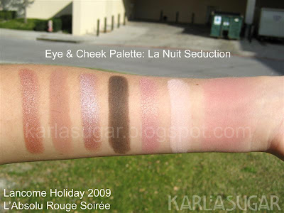 Lancome, holiday, 2009, swatches, eye and cheek palette, La Nuit Seduction, Pink Zinc, Wear It Well, Erotique, Amorous, Kittenish, Feline Strut, Aplum