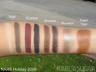 NARS, holiday, 2009, Taiga, Eurydice, Brousse, Mousson, Paper Tiger, swatches