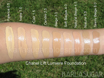 Chanel, Lift Lumiere, foundation, swatches, Faience, Ivoire, Clair, Cendre, Beige, Soft Bisque, Natural Beige, Naturel, Tawny Beige