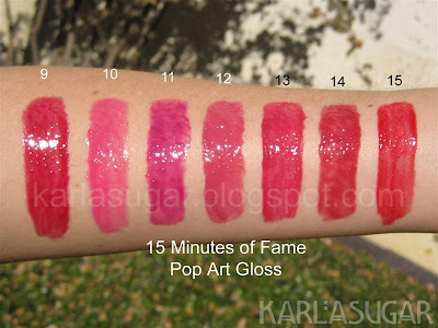 Lipstick Queen, 15 Minutes of Fame, Pop Art Gloss, swatches