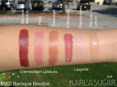 MAC, Baroque Boudoir, swatches, Cremesheen, Prive, Treasured, D'Nouveau, Preciousness, The Lap of Luxury
