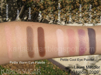 Laura Mercier, petite eye palette, swatches, Sandstone, Stellar, Bamboo, Truffle, Morning Dew, Rose, African Violet, Twilight Grey