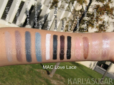 MAC, Love Lace, swatches, Pincurl, Hypnotizing, Suave Intentions, Fascinating, Sense of Style, Raven, Feline, Icescape, Utterly Discrete, Utterly Discreet, Pretty Please, Intricate