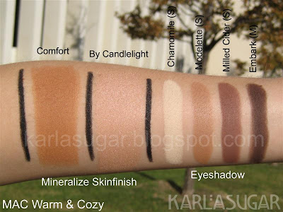 MAC, Warm and Cozy, swatches, MSF, Comfort, By Candlelight, Chamomile, Modelette, Mulled Cider, Embark