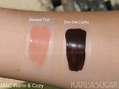 MAC, Warm and Cozy, swatches, Blissed Out, Dim the Lights