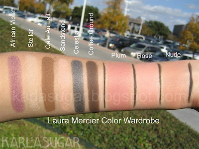 Laura Mercier, Color Wardrobe, Colour Wardrobe, swatches, African Violet, Stellar, Cafe Au Lait, Sandstone, Celestial, Coffee Ground, Plum, Rose, Nude
