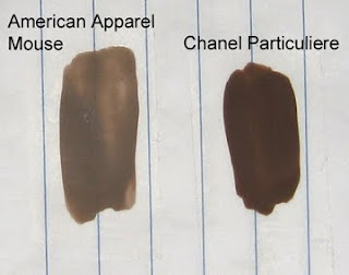 American Apparel, Mouse, Chanel, Particuliere, swatches
