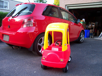 Toyota Yaris and Little Tikes Cozy Coupe with SubcompactCulture.com and Micro Image decals
