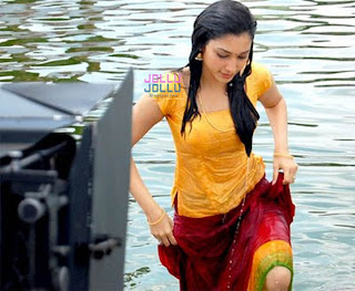 tamanna bhatia image  completely wet and coming out of pond