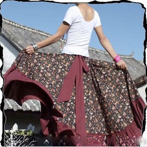 Creative Muslim Women Long Maxi Skirt Fashion 2016 Pleated Floral Printed Women