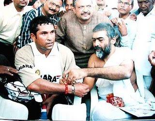Sachin Tendulkar Doing worship for his victory