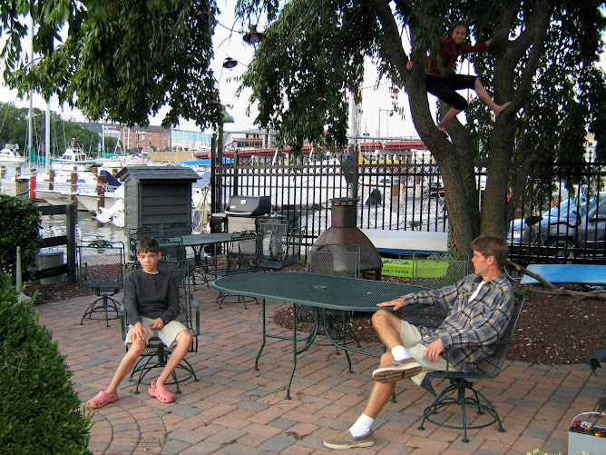 Relaxing in garden area of Spa Creek Marina