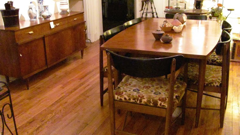 Dining table with six chairs red hook antique center for 3 sided dining room table