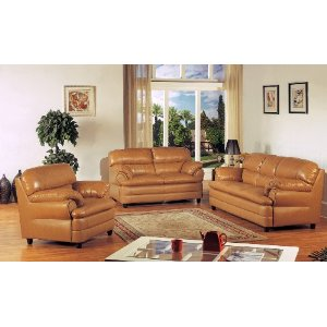 Delightful 3pc Tan Leather Sofa Loveseat U0026 Chair Living Room Set