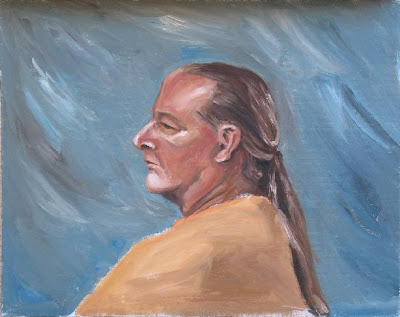 A successful artist paints a marketing executive, identifiable by the distinctive 'Mid-life crisis ponytail'