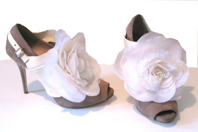 Ivory Leather Flower Spat by Joia Couture