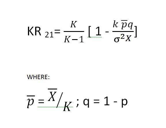 Kuder Richardson Formula 21 >> Going the Distance: Kuder-Richardson Formula 21