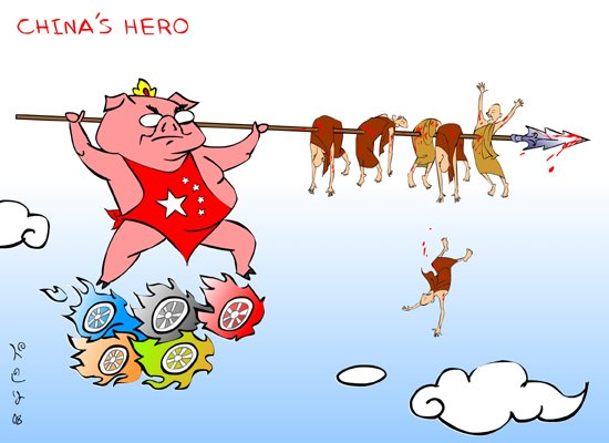 >Cartoon Beruma – Welcome to Beijing Olympics with Blood (from Burma & Tibet & All Over …)