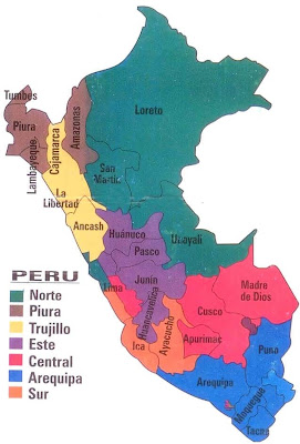 An LDS Missionary Couple in Peru Map of Missions in Peru