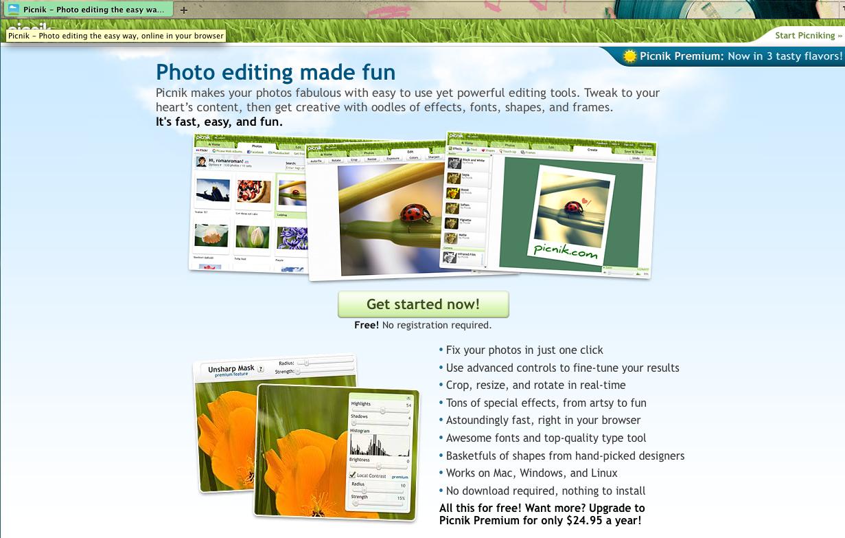 Free Picnic photo editor software download
