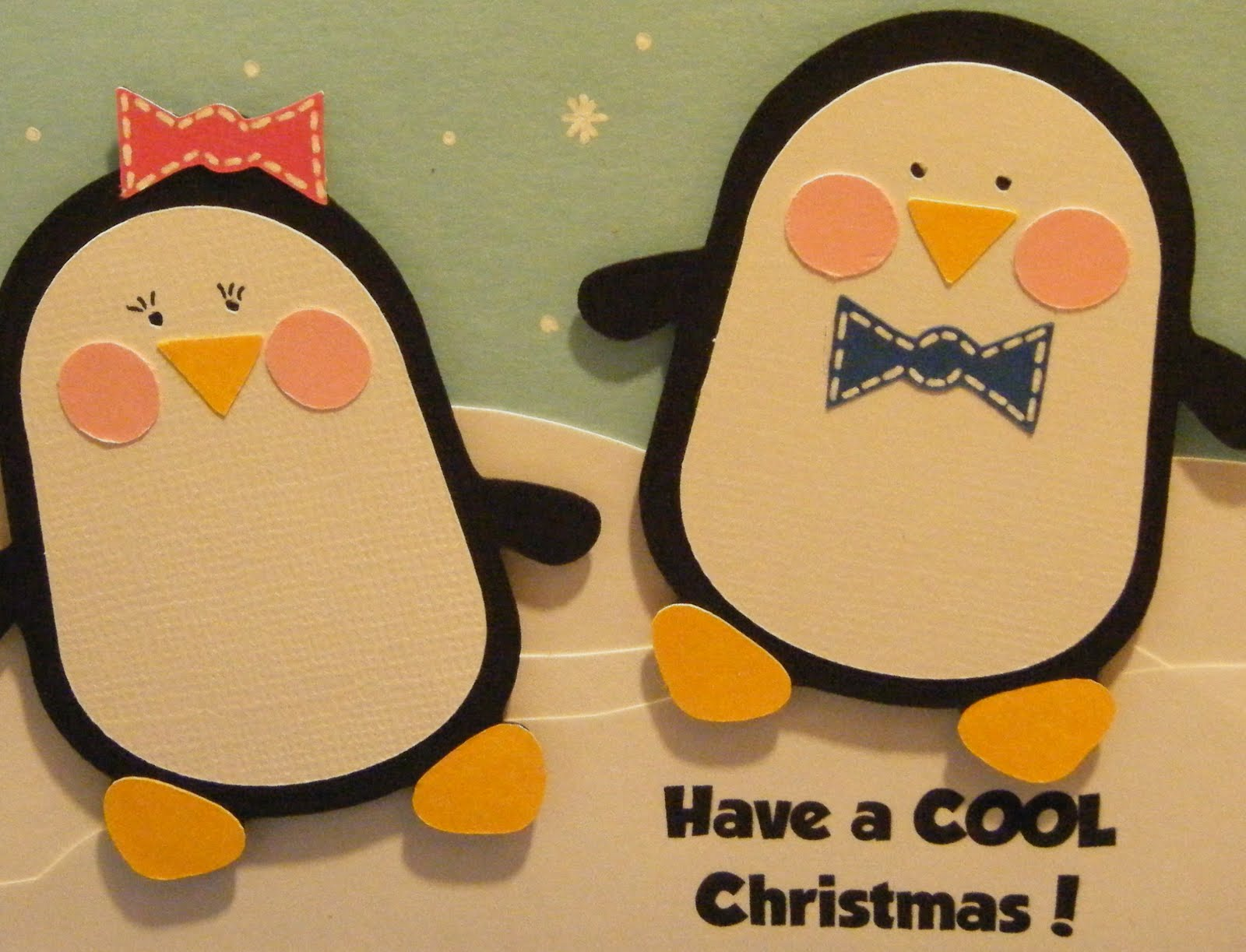 pink and paper cool christmas card