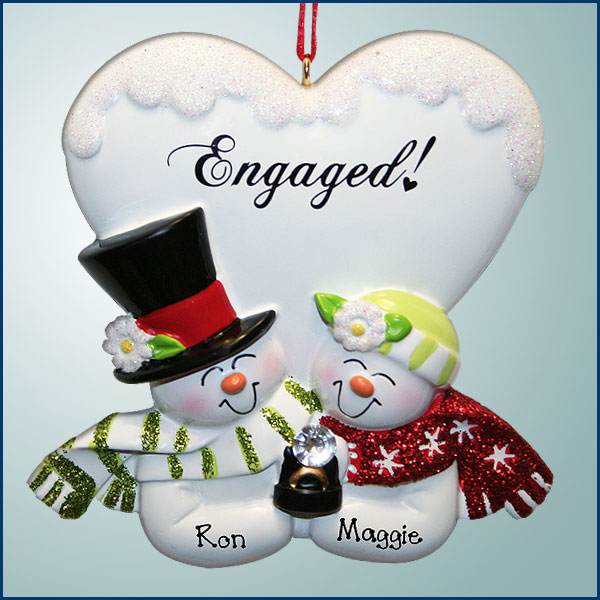 engaged snow couple with big heart personalized christmas ornament add to the romance and excitement of an engagement with this lovely sparkly ornament