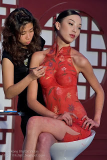Red Body Painting on Women
