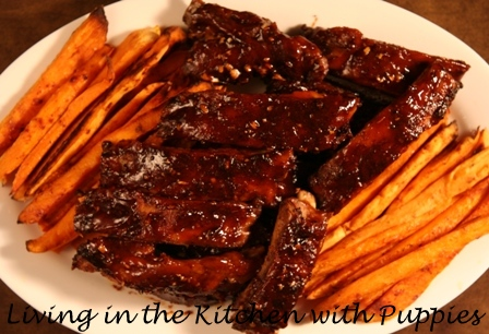 ... with Puppies: Sticky Oven Ribs and Smoky Roasted Sweet Potato Fries